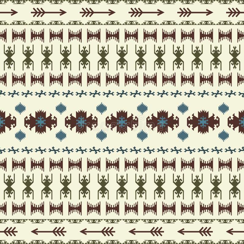 Art géométrique traditionnel ethnique de modèle sans couture indien indigène avec le rétro Inca d'Aztèque d'éléments et de flèche illustration stock