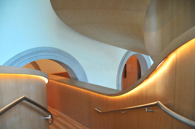 Art Galler of Ontario Gehry Staircase 9. Frank Gehry, architect extraordinaire, designed this spiral staircase that is located at the Art Gallery of Ontario (AGO stock images