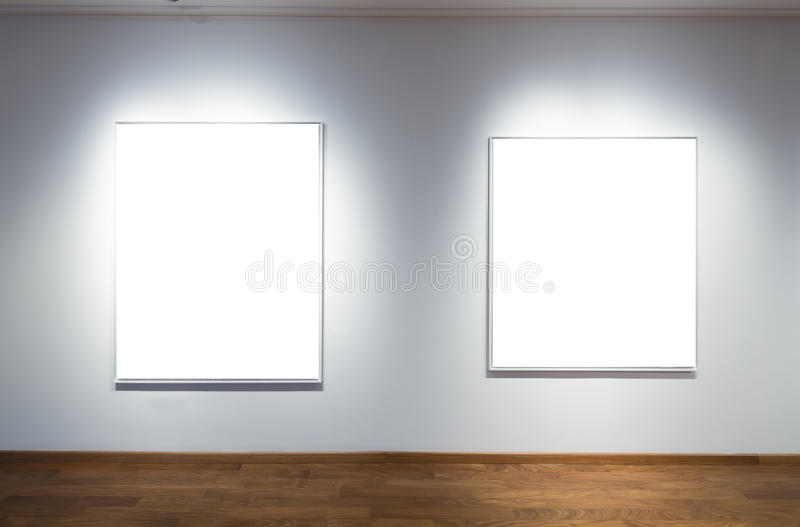 Art Gallery. Empty frames in an art gallery stock photo