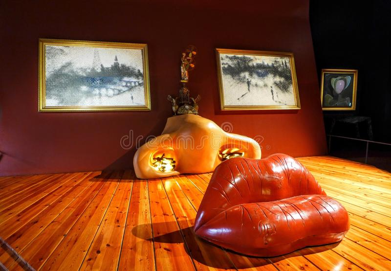 Art gallery in Spain. Big red lips nose and eyes in the art gallery in Spain stock images