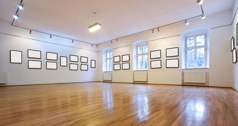 Art gallery with blank pictures. Empty art gallery view with blank pictures royalty free stock photo