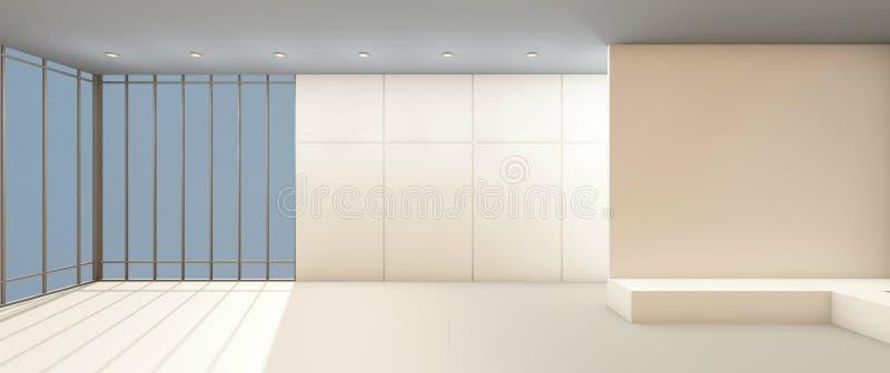 Art Gallery Clean et fenêtre sur le contemporain blanc de mur illustration libre de droits