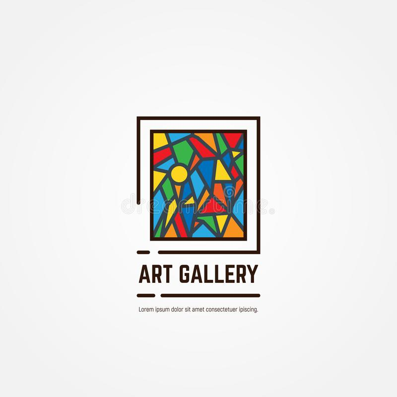 Art gallery emblem. Art gallery logo. Color paintings emblem with triangles and lines. Abstract picture. Studio logotype. Museum or art gallery icon line style vector illustration