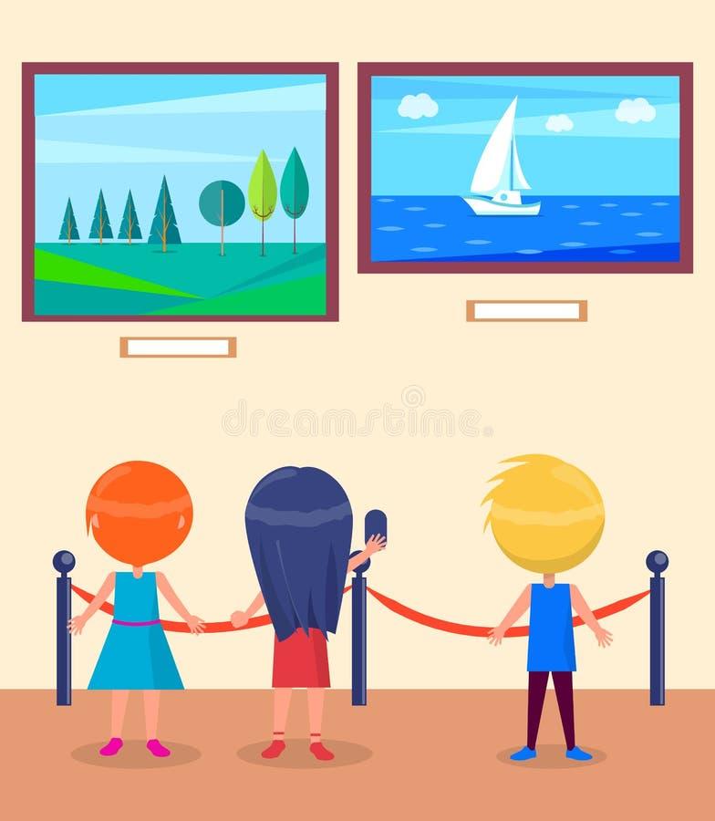 Art Gallery Excursion para el vector de los alumnos stock de ilustración