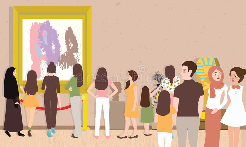 Art gallery exhibition busy many people man woman children visitor looking for painting contemporary artist collection vector illustration