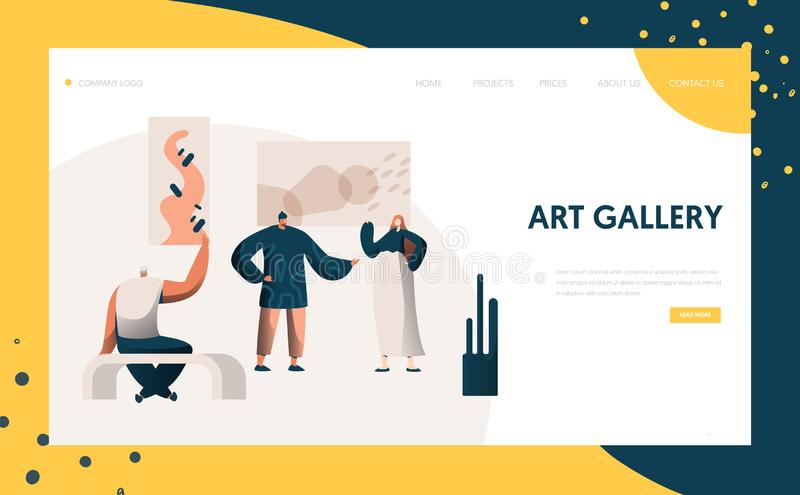 Art Gallery Exhibition Presentation Landing Page People Character Artist Represent Modern Painting Frame Artwork Concept. Art Gallery Exhibition Presentation stock illustration