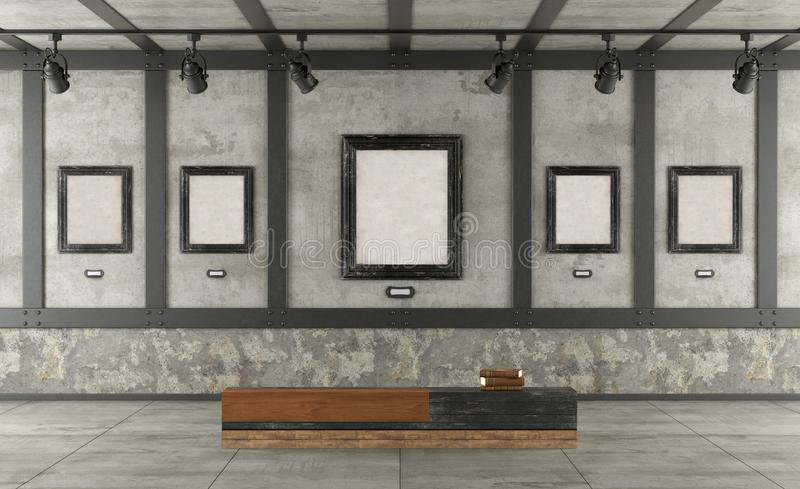 Art gallery in loft with concrete wall and iron elements stock illustration