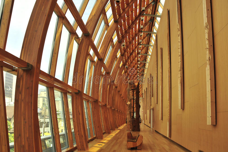 Art Gallery of Ontario by Frank Gehry. View of the wooden corridor at the Art Gallery of Ontario, Toronto by Frank Gehry stock image