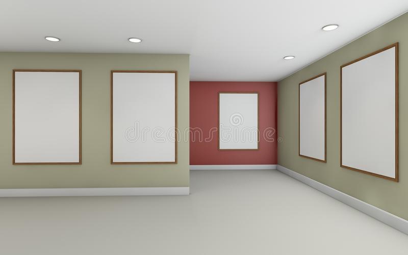 Art Gallery Perspective and Picture Frame wall monocom color Rad. Art Gallery and Picture Frame wall monocom color Rad vector illustration