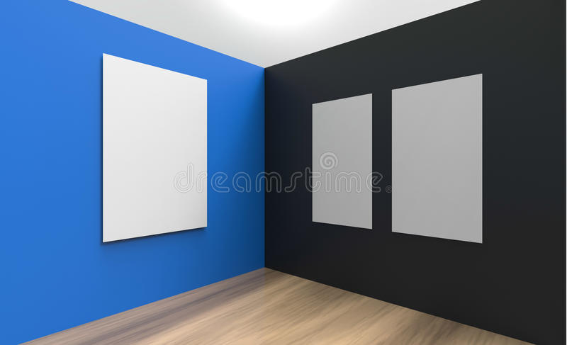 Art Gallery Studio picture frame Wall blue and black color. Art Gallery Studio and Three picture frame contemporary Wall blue and black color stock illustration