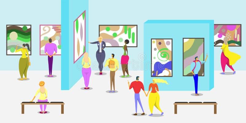 Art gallery vector poster web banner template stock illustration