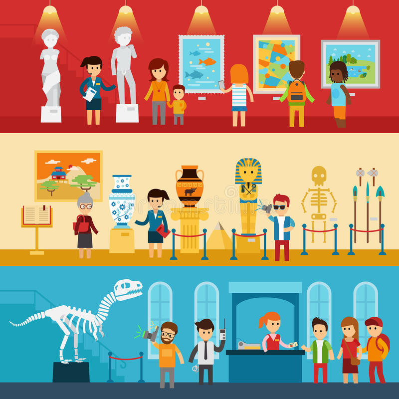 Art gallery visitors and antique museum of paleontology flat banners abstract isolated vector illustration. People look royalty free illustration
