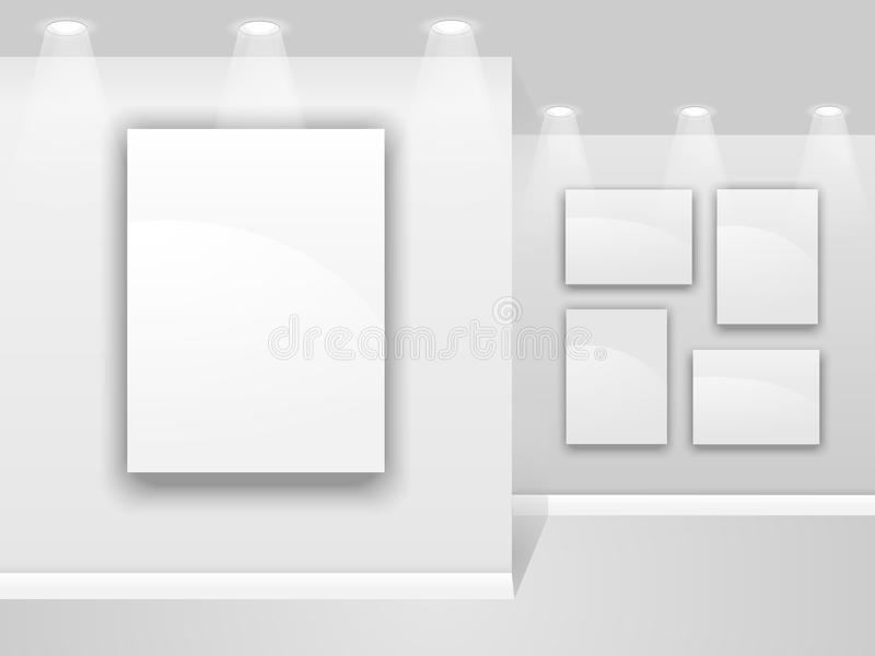 Art gallery wall vector illustration