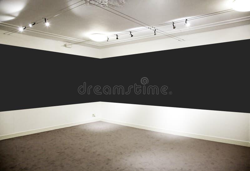 Art gallery. Wide black panel. stock photo