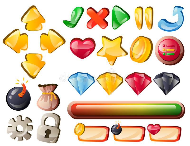 Art game interface elements for hit points. Vector illustration royalty free illustration