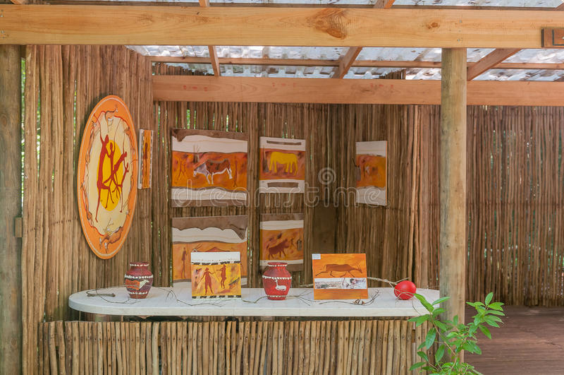 Art at Garden Of Eden. GARDEN OF EDEN, SOUTH AFRICA - MARCH 3, 2016: A commercial area at the Garden Of Eden where local artists sell their artworks stock photo
