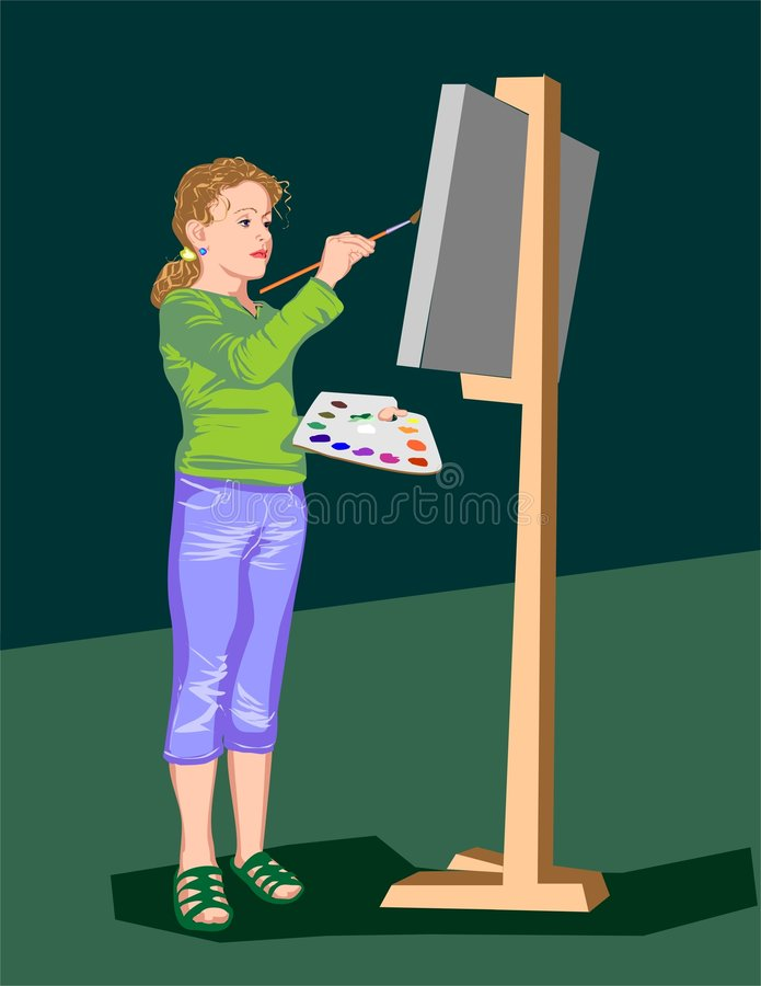 Art_gerl_001. The girl costing draws paints a picture on an easel
