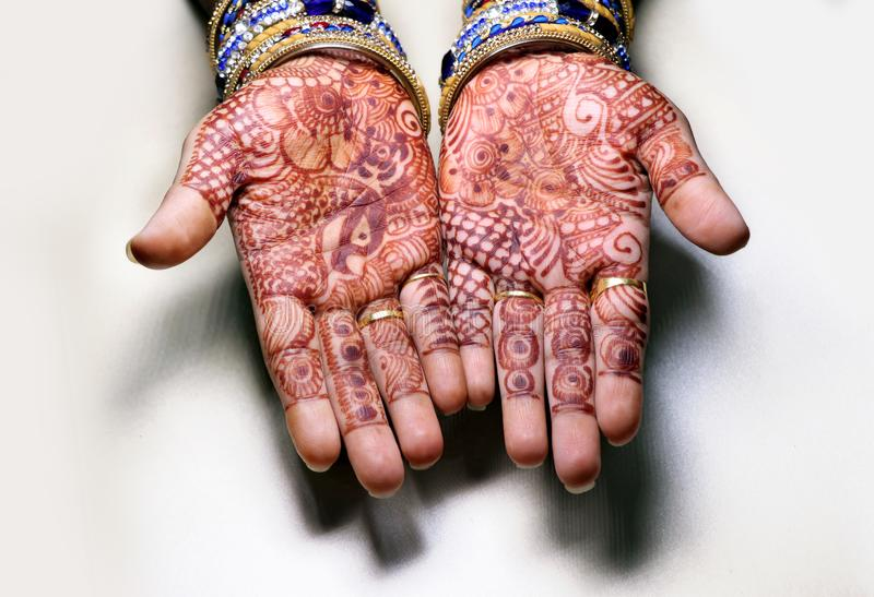 Art in girls hand using henna plant also called as mehndi design,style. It is a tradition in india stock images