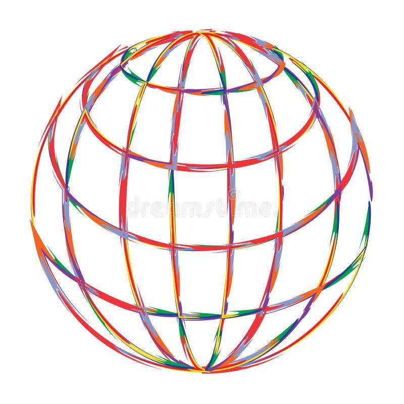 Art globe logo. Illustration of art globe logo design isolated on white background stock illustration