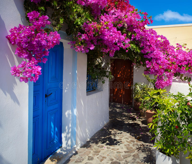 Art greece santorini landscape. Traditional country yard royalty free stock photography