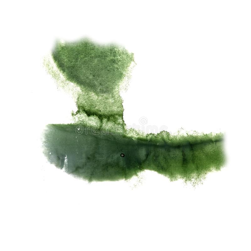 Art The green watercolor ink paint blob watercolour splash color. Ful stain isolated on white background 2 royalty free stock image
