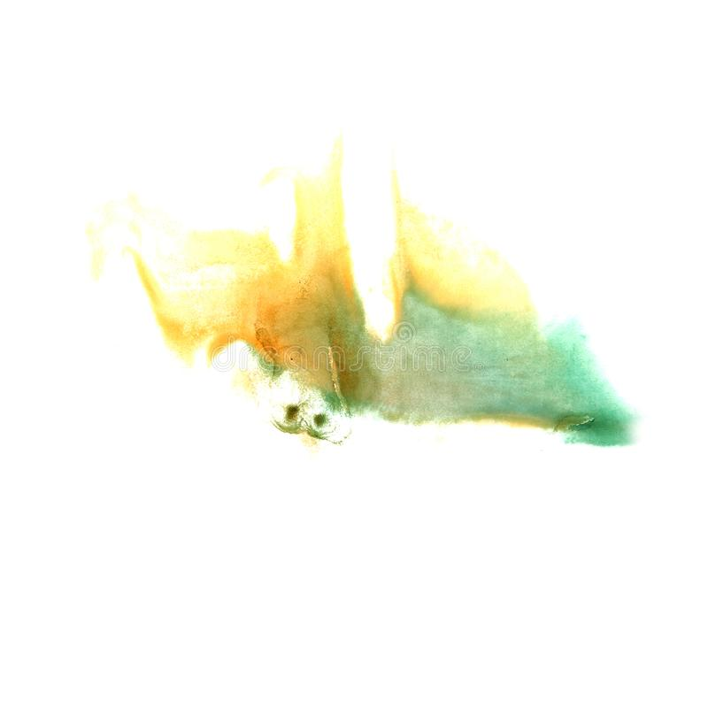 Art Green, yellow watercolor ink paint blob watercolour splash c. Olorful stain isolated on white background royalty free stock photography