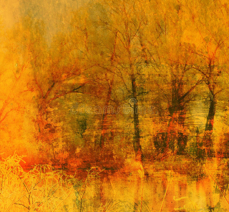 Download Art Grunge Background With Forest Trees Stock Image - Image of yellow, eerie: 18178481