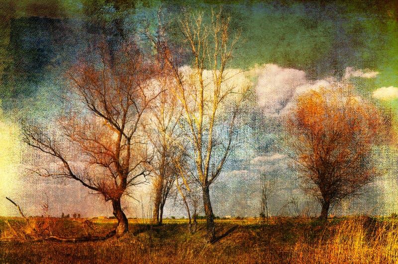 Art grunge creepy landscape royalty free stock photography