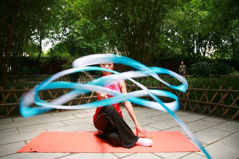 Art gymnastics. Chinese young woman display art gymnastics royalty free stock image