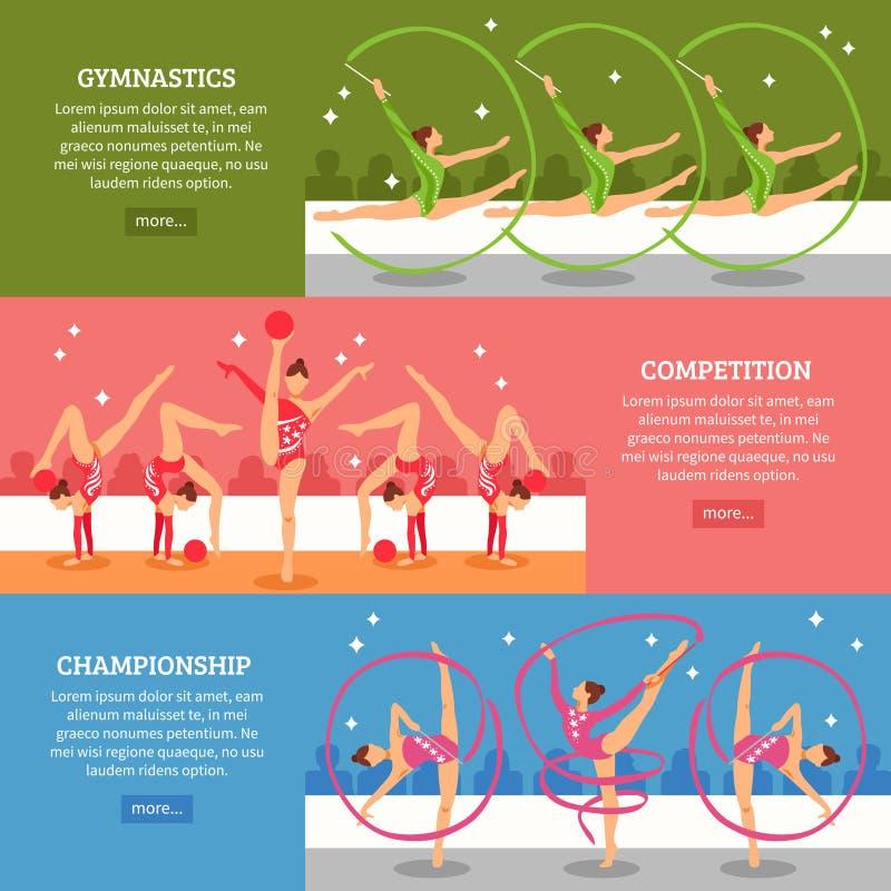 Art Gymnastics Horizontal Banners stock illustrationer