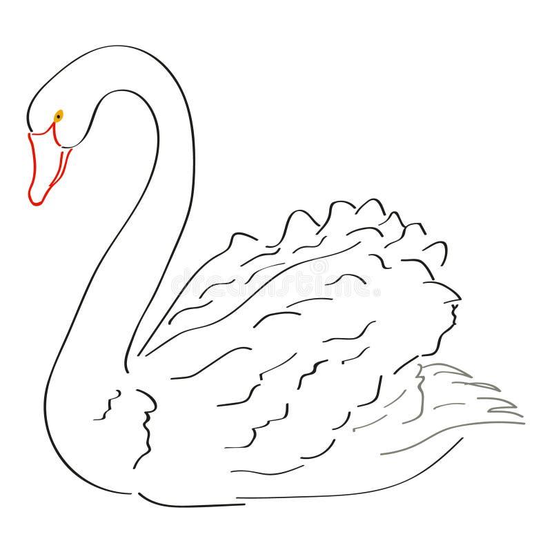 Art Handmade Drawing Black Swan royalty illustrazione gratis