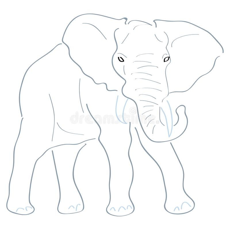 Art Handmade Drawing Elephant illustration de vecteur