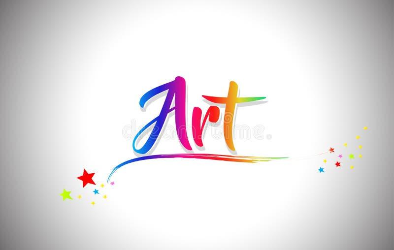 Art Handwritten Word Text con i colori dell'arcobaleno e vibranti mormorano illustrazione vettoriale
