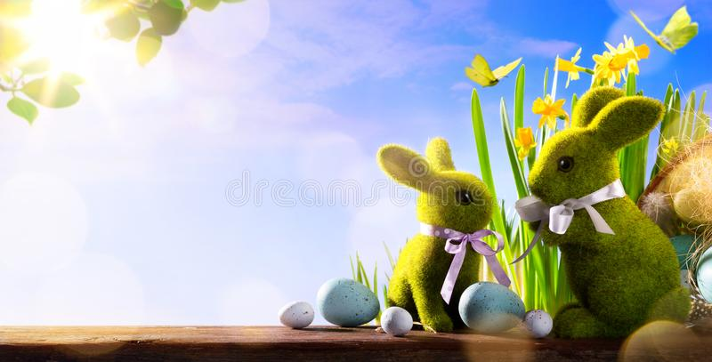 Art Happy Easter Day; family Easter bunny and Easter eggs. Happy Easter Day; family Easter bunny and Easter eggs royalty free stock photo