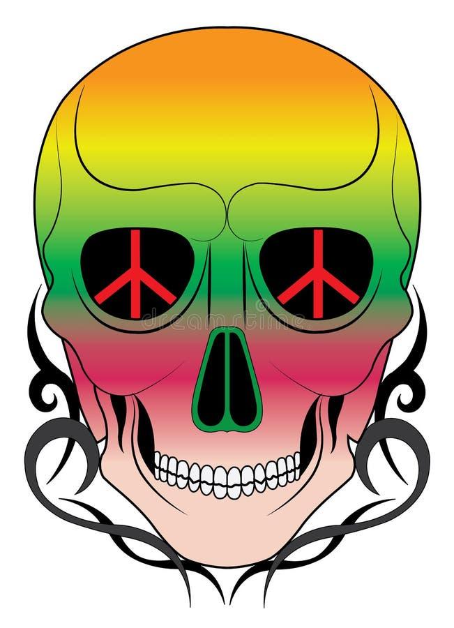 Art Hippie Skull Tattoo vektor illustrationer