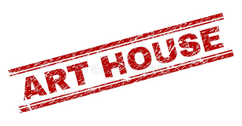 Scratched Textured ART HOUSE Stamp Seal. ART HOUSE seal print with distress effect. Red vector rubber print of ART HOUSE tag with dust texture. Text tag is royalty free illustration