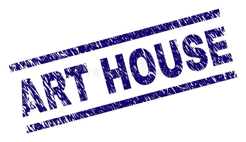Grunge Textured ART HOUSE Stamp Seal. ART HOUSE seal print with scratced style. Blue vector rubber print of ART HOUSE tag with retro texture. Text tag is placed stock illustration