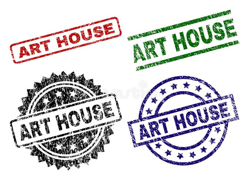 Damaged Textured ART HOUSE Seal Stamps. ART HOUSE seal prints with corroded style. Black, green,red,blue vector rubber prints of ART HOUSE tag with corroded royalty free illustration