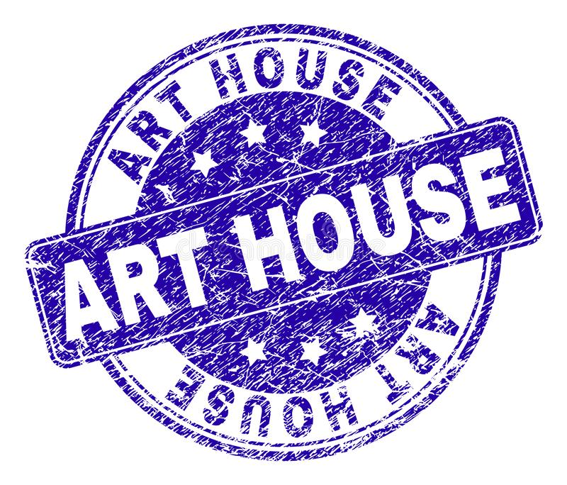 Grunge Textured ART HOUSE Stamp Seal. ART HOUSE stamp seal imprint with grunge texture. Designed with rounded rectangle and circles. Blue vector rubber watermark royalty free illustration