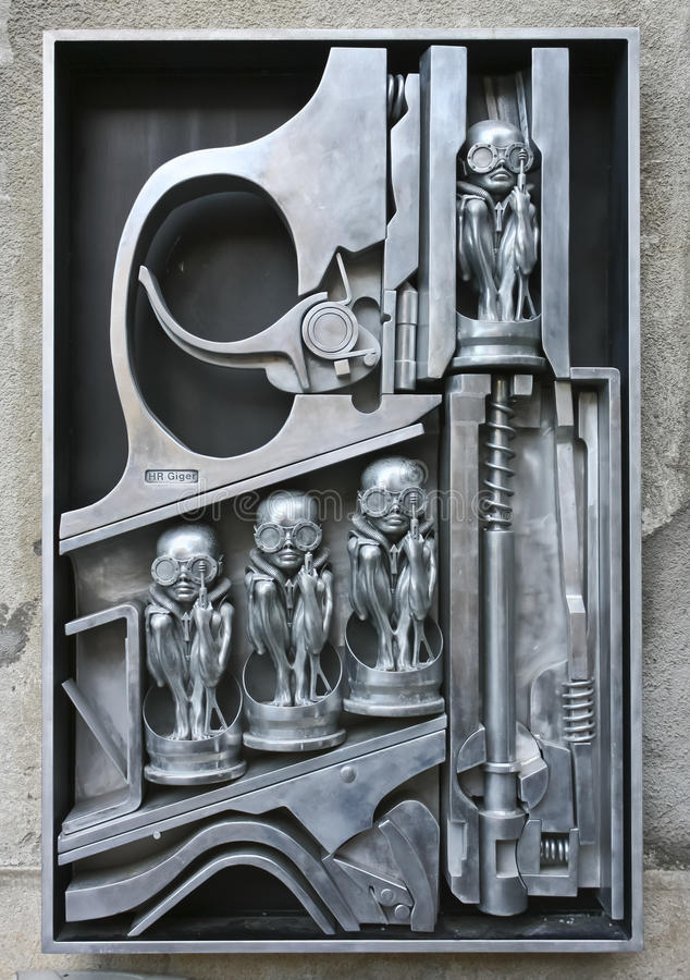 Birth machine metal sculpture by H.R. Giger royalty free stock image