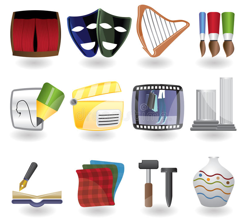 Download Art icon set stock vector. Image of brush, book, button - 10004960