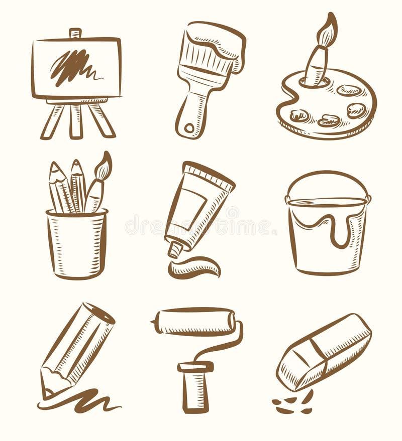 Art icon set stock illustration