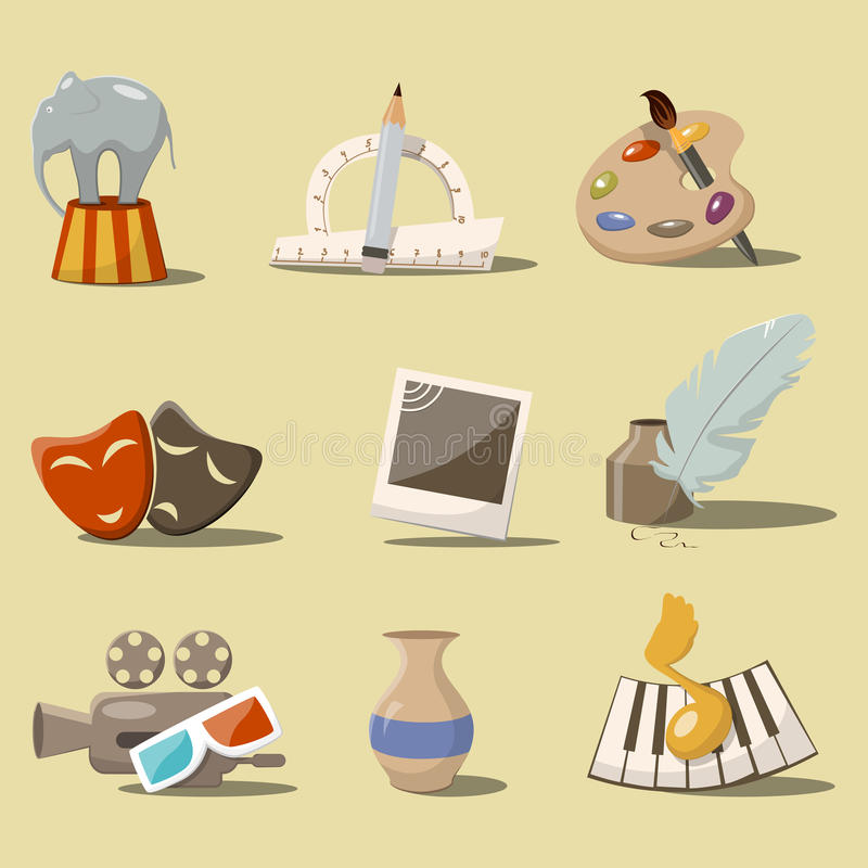 Download Art icons stock vector. Image of circus, ink, pencil - 33004140