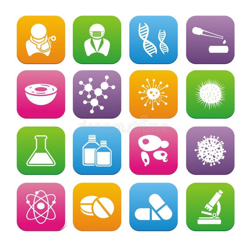 Art-Ikonensätze der Biotechnologie flache lizenzfreie abbildung