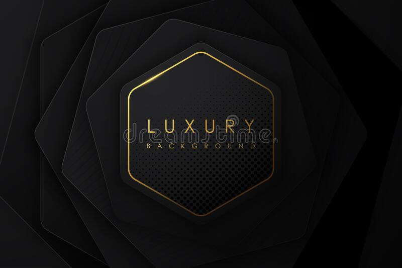 Abstract Luxury background. black and gold color on black background. stock photography