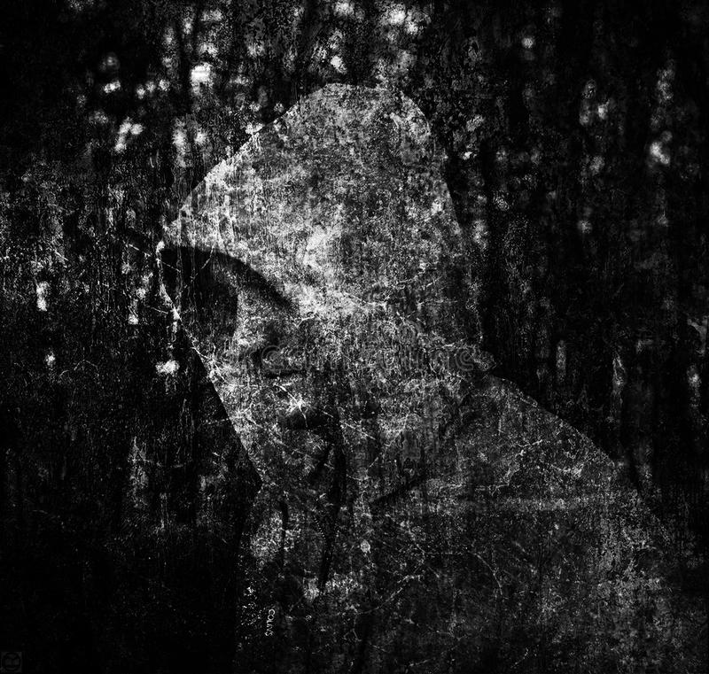 Art illustration black and white composition men hooded double exposure. Art illustration black and white composition man hooded double exposure royalty free stock photos