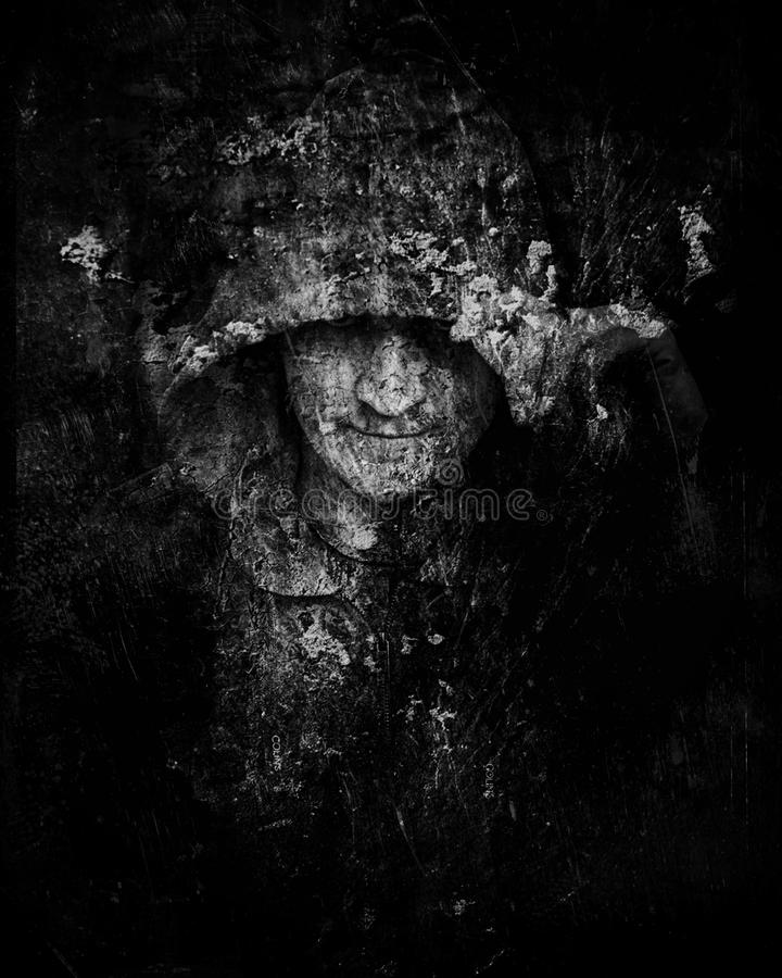 Art illustration black and white composition men hooded double exposure. stock image