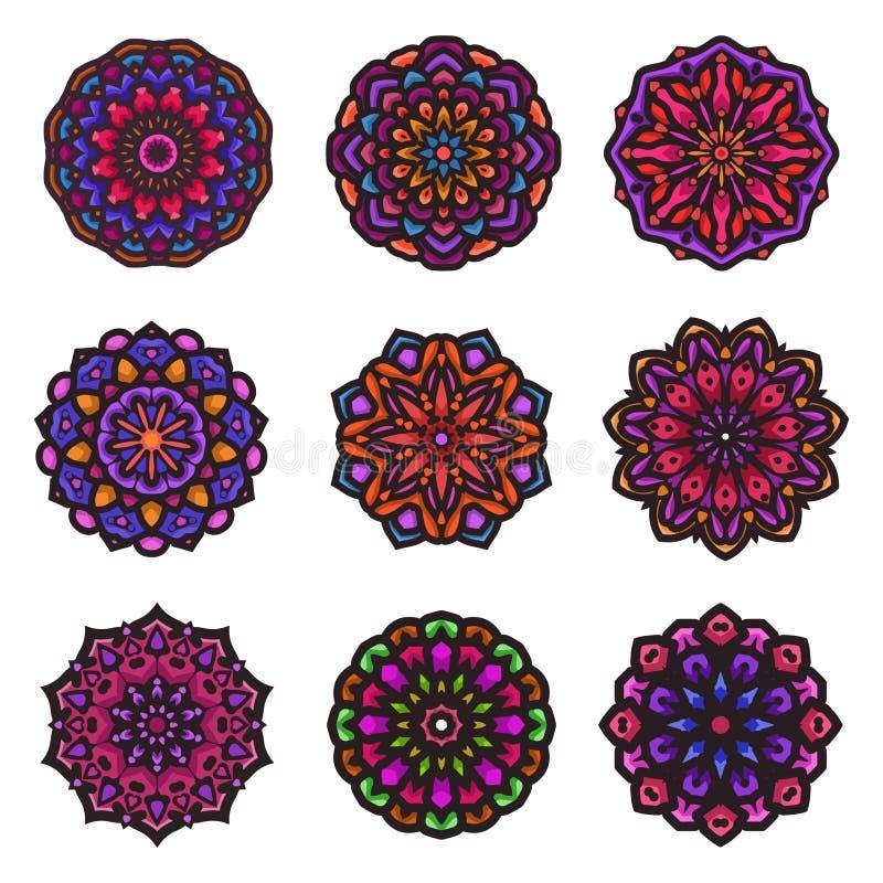 Art indien de mandala avec la belle couleur et l'ornement floral circulaire illustration libre de droits