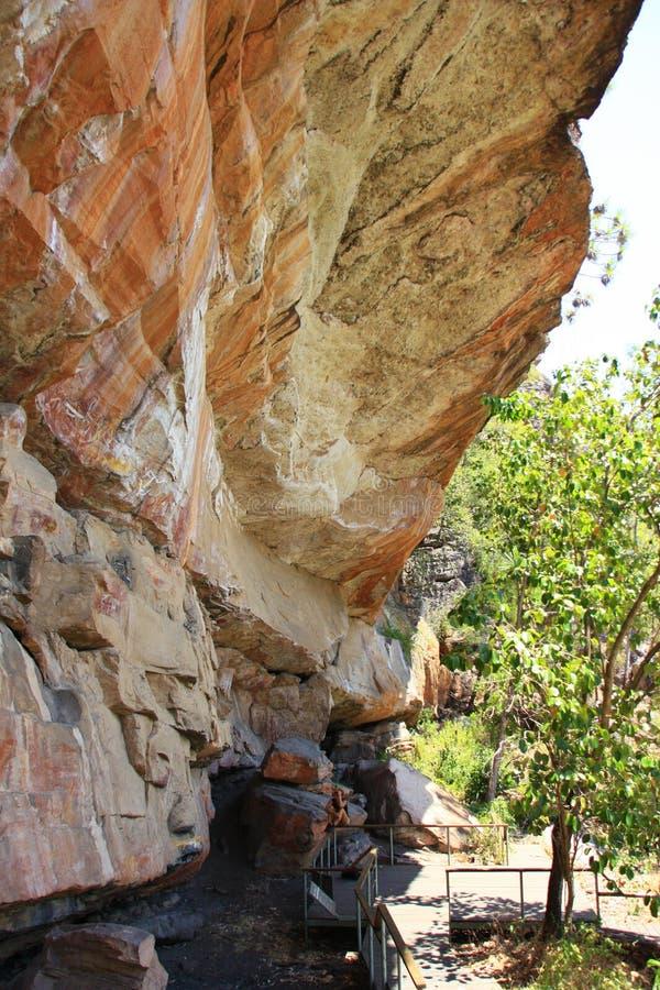 Art indigène de roche chez Nourlangie, parc national de Kakadu, territoire du nord, Australie photo stock