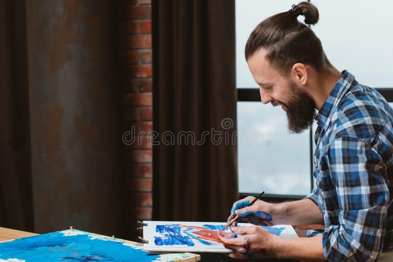 Art inspiration enthusiastic painter loft studio stock photos